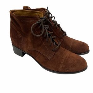 Alberto Fermani Suede Lace Up Boots Brown Size 8.5